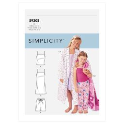 S9208 Children's/Girls' Robe, Belt, Tops, Gown, Shorts and Pants