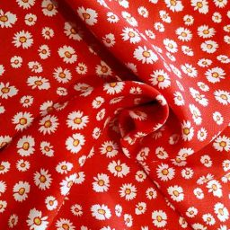 Daisy print viscose (red)