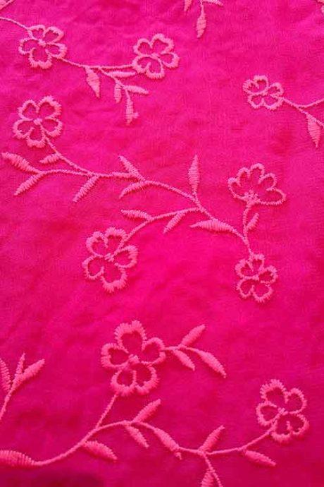 Flower-embroidered chiffon (fuchsia)