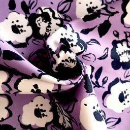 Stretch cotton floral print (lavender)