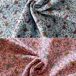 """Stretch cotton French terry, """"Poetic Flowers"""""""