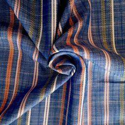 Soft woven multi-stripe viscose (blue)