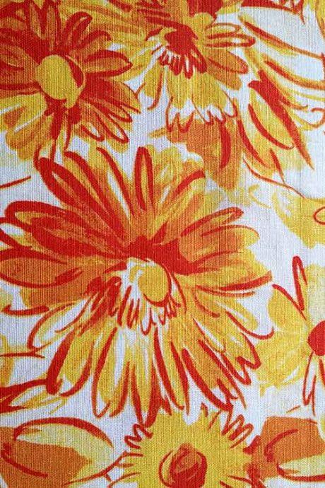 Floral print linen mix (tangerine)