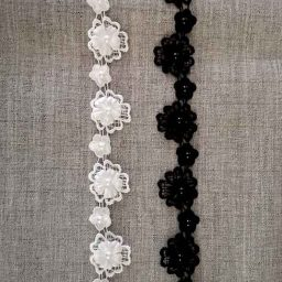 3D flower lace trimm with pearl bead