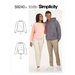 Simplicity Sewing Pattern S9240 Unisex Raglan Pullover Shirts
