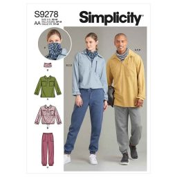 Simplicity Sewing Pattern S9278 Unisex Tops In Two Lengths, Pants & Neckpiece