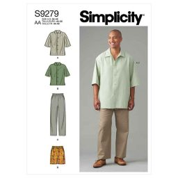 Simplicity Sewing Pattern S9279 Men's Shirt In Two Lengths, Pants & Shorts