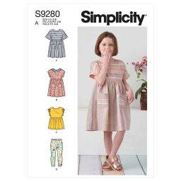 Simplicity Sewing Pattern S9280 Children's Dresses, Top & Leggings