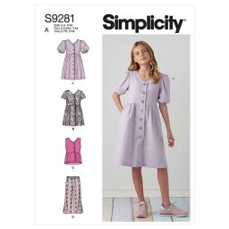 Simplicity Sewing Pattern S9281 Girls' Dresses, Top & Pants