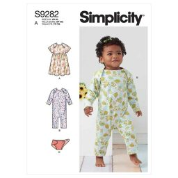 Simplicity Sewing Pattern S9282 Babies' Knit Dress, Romper & Diaper Cover