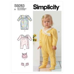 Simplicity Sewing Pattern S9283 Infants' Knit Gathered Gown & Jumpsuit