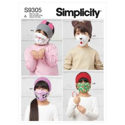 Simplicity Sewing Pattern S9305 Children's Headbands, Hat & Face Coverings