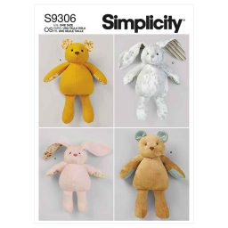 Simplicity Sewing Pattern S9306 Plush Bears & Bunnies in Two Sizes