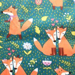 "100% cotton print, ""Foxy Friends"""