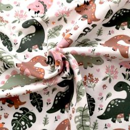 Cotton Spandex Jersey Print ('Dainty Dinos')