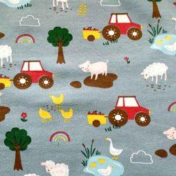 Cotton Spandex Jersey Print ('Farm Friends')