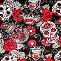 Cotton Spandex Jersey Print, ('Skulls n' Roses')