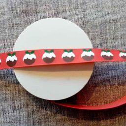 Christmas Pudding ribbon (16mm x 5m roll)