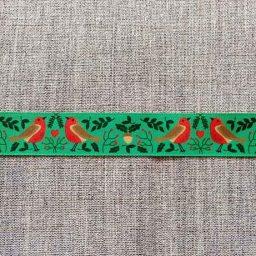"""Robin's Nest"" Christmas ribbon, 25mm"