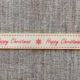 Happy Christmas ribbon, 16mm (ivory/red)