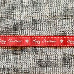 Happy Christmas ribbon, white on red (9mm)