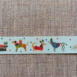 """Jolly Dogs"" Christmas ribbon, 25mm"