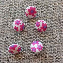 Picture book flower shank buttons, 15mm (pink/purple)