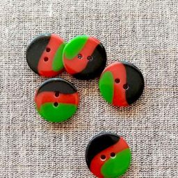 Tricolour, 'Humbug' buttons, 20mm (green, red)