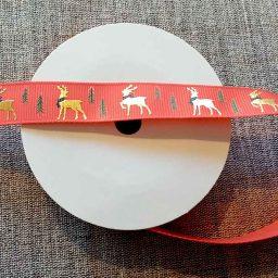 Reindeer Christmas ribbon (16mm x 5m roll)