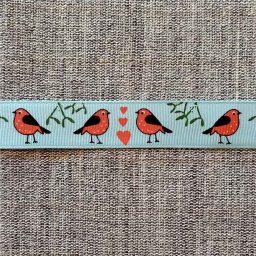 Robin and mistletoe ribbon, turquoise (16mm)