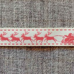 Santa sleigh ribbon, ivory/white (16mm)