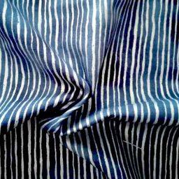 """John Louden """"Icicles"""" cotton print (navy/silver)"""