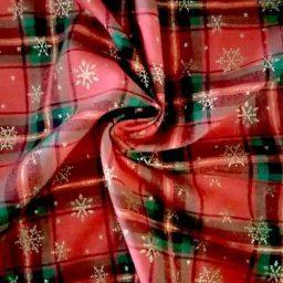 "John Louden ""Snowflake"" plaid cotton (red/green/gold)"