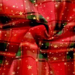 "John Louden ""Starlight"" plaid cotton (red/green/gold)"